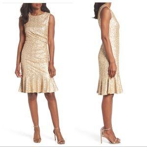 Eliza J Sequin Ruffle Hem Sheath Dress